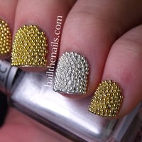 Gold &amp; Silver Metallic Caviar Beads Nail Art - This seasons must have nails.
