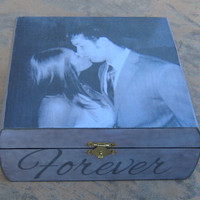 Personalized Wedding Keepsake Box, Custom Engagement Memory Box, Unique Wedding, Engagement, Bridal Photo Gift