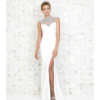 Madison James 15-145 Ivory Breakfast At Tiffanys Jeweled Neck Open Back Velvet Gown 2015 Prom Dresses