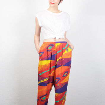Vintage 80s Harem Pants Bright Rainbow High Waisted Pants 1980s New Wave Southwestern Print Tapered Leg Pants Slouch Slacks S Small M Medium