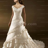 A-line V-neck Chapel Train Satin Wedding Dress with Embroidery at Msdressy