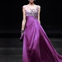 Cheap Plum Empire Chiffon Floor-length Evening Dress On Sale