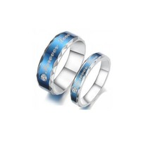 """Forever Love"" Blue Couples Rings - (C-RIN-1070)"