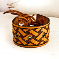 Fall Power Leather Cuff Bracelet Wristband