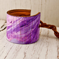 Leather Jewelry Cuffs for Women OOAK Bracelets Wristbands