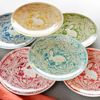 GRAPHIC BUNNY PLATE, SET OF 4