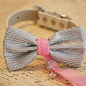 Pink and Silver Dog Bow Tie, Dog ring bearer, Pink and Silver Pet Wedding accessory, Pet lovers, Wedding accessory
