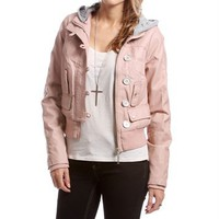 Dusty Pink Hooded Faux Leather Jacket