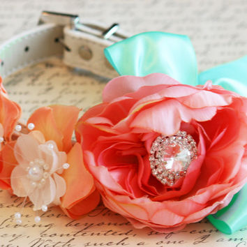 Blush, Peach and Mint Floral Dog Collar, Pet Wedding Accessory, Spring wedding, Floral Collar, Blush, Peach, White and Mint Wedding
