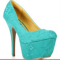 Teal Lace Platform Pumps