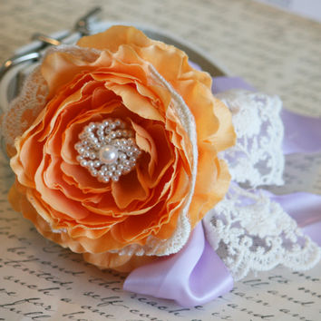 Pastel Orange and Lavender Wedding, Floral Dog Collar with Lace, Pet Wedding accessory, Orange Lavender Wedding,Boho wedding,Vintage wedding