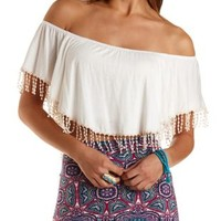 Crocheted Fringe Flutter Crop Top by Charlotte Russe - Ivory
