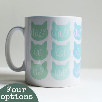 Mother's Day gift, cat mug, crazy cat lady mum gift, colourful coffee mug, unique coffee mug, tea mug, coffee lover quote mug.