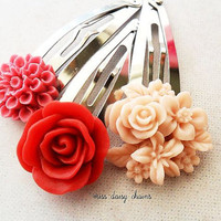 Flower Hair Clip Set, Red and Pink, Rose, Chrysanthemum, Bouquet, Snap Clips