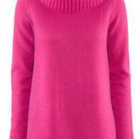 Red High Neck Long Sleeve Pullovers Sweater - Sheinside.com