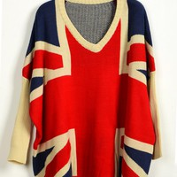 Bat Long Sleeve Plaid Long Sleeve Sweater - Sheinside.com