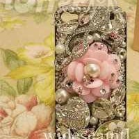 Big Pink Flower, Silver Crystals, Pearls iPhone 4 Case