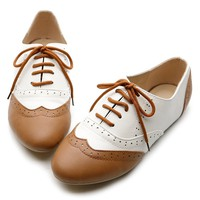 Ollio Women's Shoe Classics Lace Up Dress Low Flat Heel Multi Color Oxford(8 B(M) US, Brown-White)