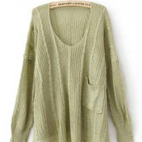 Green Twist Loose Pocket Decoration Sweater S000625