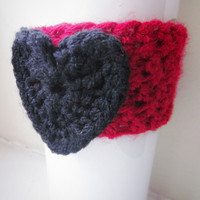 Crochet Cup Cozy The Heart Coffee Cup Sleeve in Red and Black