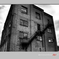 Halloween Spooky Art, Black and White Photography Architectural Photo, Old Warehouse Building Art Print