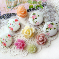 Shabby Chic Pink White Rose & Chintz Cabochons Mix (9)
