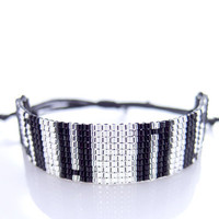 Black and Silver Bracelet, Monochrome Stripe Bracelet, Beaded Cord Bracelet, Black &amp; White, OOAK Handmade by JeannieRichard
