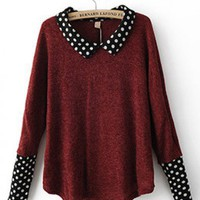 Doll Collar Red acrylic polka dot long sleeve pullover   style zz10081002 in