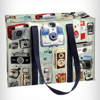 Vintage Camera Print Flight Bag | PLASTICLAND