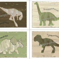 Dinosaur Art Print Set of 4 Green Beige Brown for Boy Bedding Wall Decor