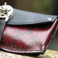 Women's Leather Wallet - Baroque Steampunk on Red with Silver Hardware