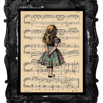 Alice Art Print Alice in Wonderland Dictionary Print Upcycled Book Art Prints Vintage Book Print Vintage Book Page