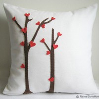 SALE. Love Trees Blossom White Pillow Cover. Special Gift. Color Choice