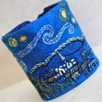 Hand Embroidery Starry Night Hand Embroidered Cuff by Waterrose