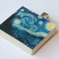 The Starry Night Scrabble Tile Pendant by AmeliaBeth on Etsy