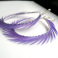 Purple Hoop Earrings Feather Earrings Large Silver by StoneznStix