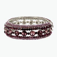 Helen's Heart Style  JB-OFB-758 Purple Crystal Stone Bangle Bracelet