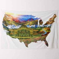 Allover USA Landscape Tapestry- Multi One