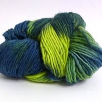 Ombre wool yarn blues, apple green, aquas tones, Merino wool hand dyed soft yarn
