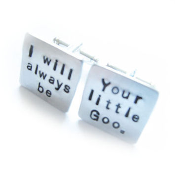 Your Girl Hand Stamped Cufflinks Square personalized gift men cuff links Wedding Birthday