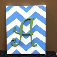 Inital Canvas Art/ Chevron Design/ Letter and color of choice/ Hand Painted 8x10 / Nursery Decor/ Wedding, Birthday Gift