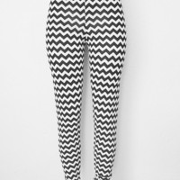 Chevron Knit Leggings Womens Clothing Pants Black and White - SALE
