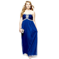 City Triangles® Strapless Jeweled Keyhole Long Dress - Plus