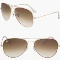 Amazon.com: RAY BAN AVIATOR LARGE METAL Sunglasses - Gold/Brown RB3025 001/51 (58mm): Clothing