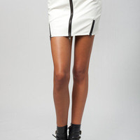 Zipped Up Vegan Leather Skirt | Timeless Boutique