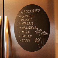 Chalkboard Vinyl Wall Decal (oval floral) - Great for the kitchen, office or anywhere in your home