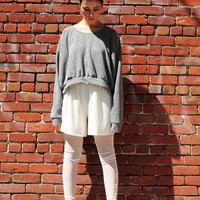 High/Low Oversized Grey Sweatshirt One Size Fits Most