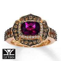 Cushion-Cut Garnet Ring  7/8 ct tw Diamonds  14K Gold