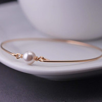 Gold Bangle Bracelet,  White Pearl Bracelet, Simple Gold Bracelet, Pearl Jewelry