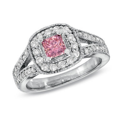 1 ct t w princess cut enhanced pink and from zales